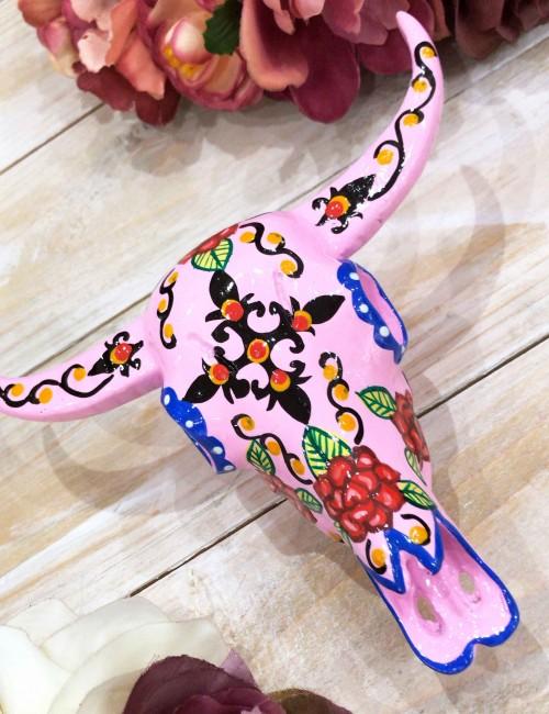 Tête de buffle peinte main fleurs rose - Boutique l'ananas