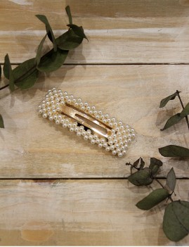 Barrette clip perles nacrées rectangle doré - Boutique l'ananas