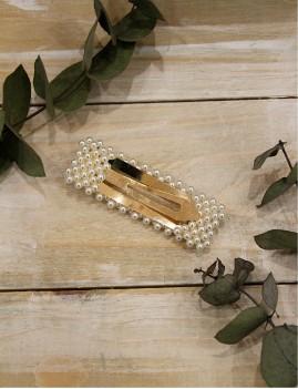 Barrette clip perles nacrées rectangle doré bohème - Boutique l'ananas