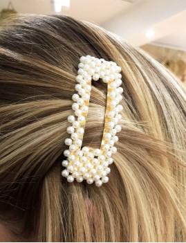 Barrette clip perles nacrées rectangle doré accessoire - Boutique l'ananas