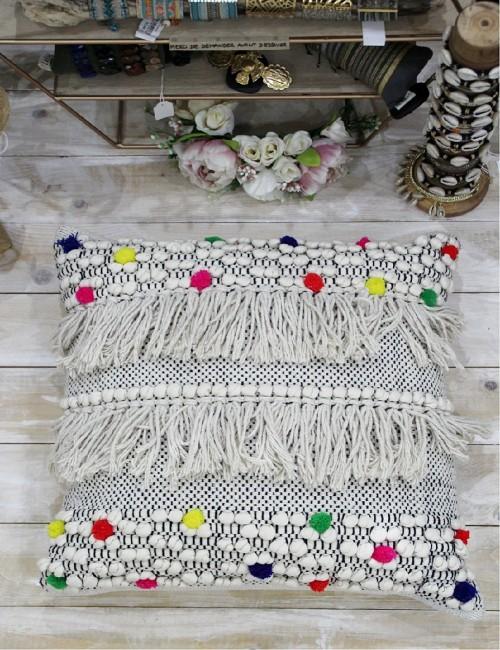 Taie d'oreiller blanche pompons de couleur - Boutique l'ananas