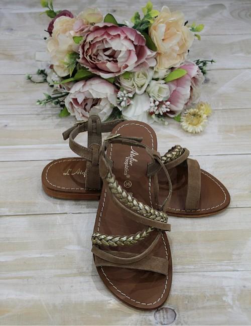 Nu-pieds marron en cuir tressés dorés - Boutique l'ananas