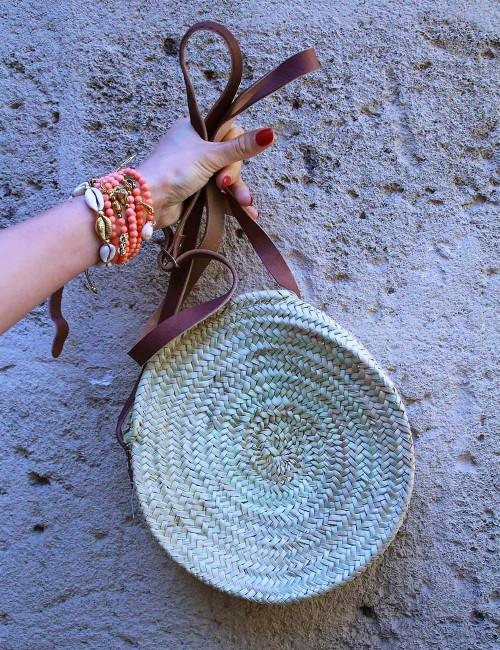 Petit panier rond en osier avec zip cuir marron bohème - Boutique l'ananas