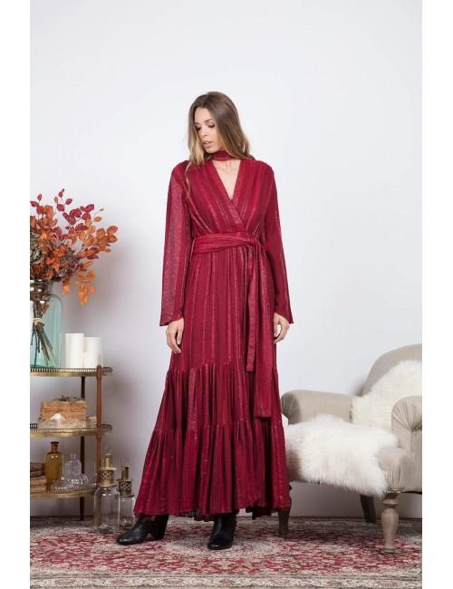 Robe longue fendue esprit bohème  rouge - Boutique l'ananas