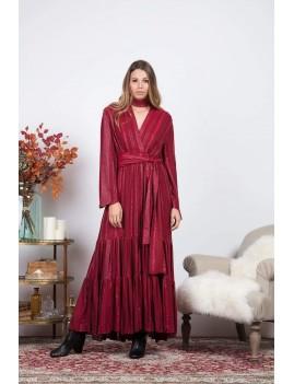 Robe longue fendue esprit bohème  rouge ceinturée - Boutique l'ananas