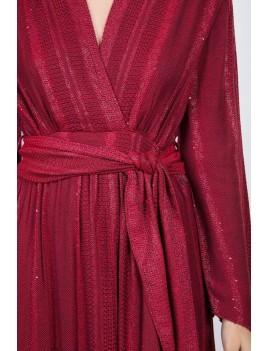 Robe longue fendue esprit bohème  rouge manches longues  - Boutique l'ananas