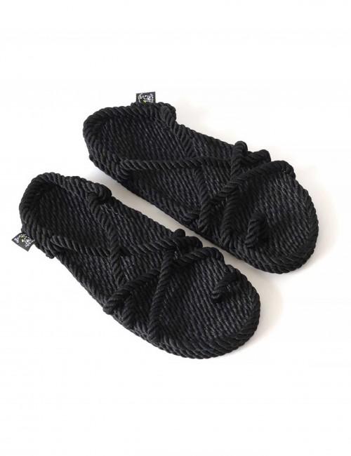 Sandales en corde noir - Boutique l'ananas