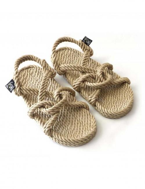 Sandales en corde beige croisé - Boutique l'ananas