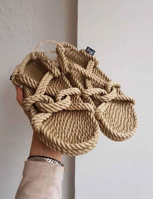Sandales en corde beige - Boutique l'ananas