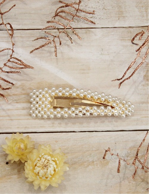 Barrette perles nacrées clip grand format - Boutique l'ananas