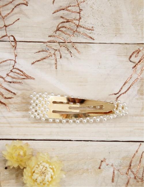 Barrette perles nacrées clip grand format blanc - Boutique l'ananas