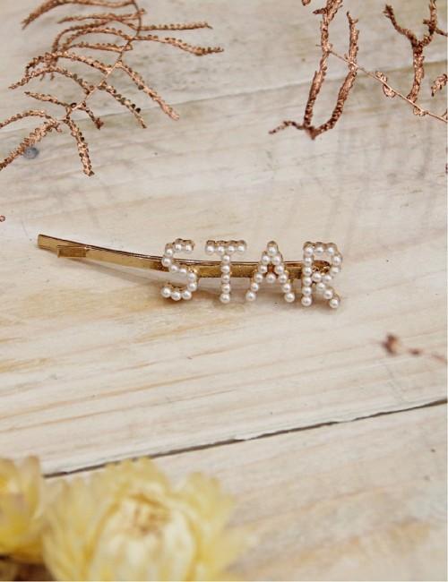 Barrette star à perles nacrées - Boutique l'ananas