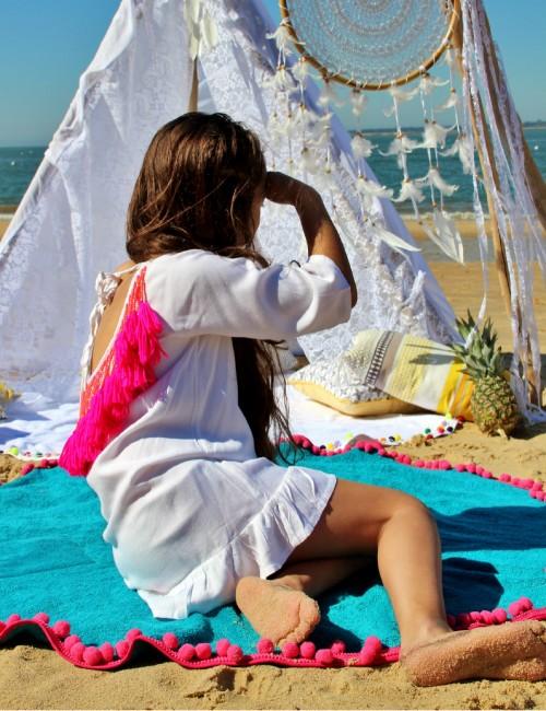 Baby serviette de plage bohème avec pompons - Boutique l'ananas
