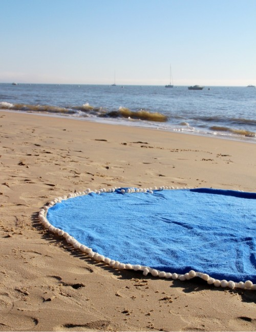 Serviette ronde de plage marine bohème - Boutique l'ananas