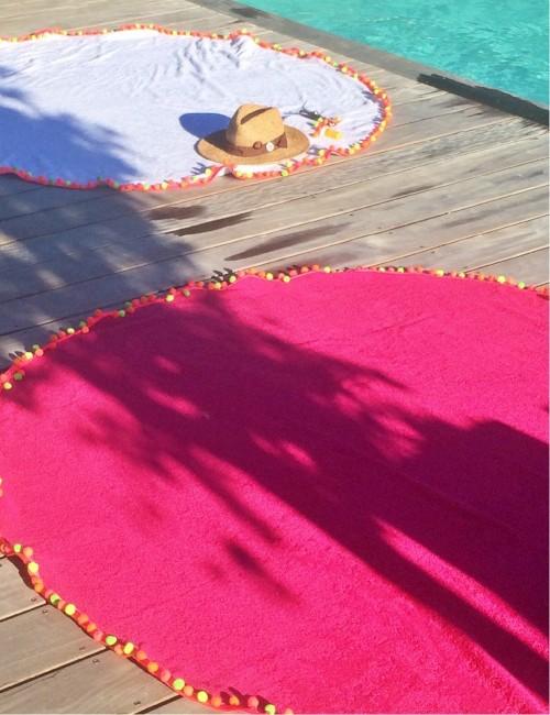 Grande serviette ronde de plage fushia - Boutique l'ananas