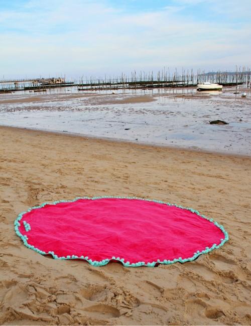 Serviette ronde de plage rose  bohème - Boutique l'ananas
