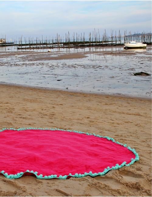 Grande serviette ronde de plage rose bohème - Boutique l'ananas