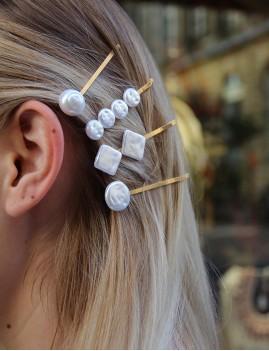 Lot de 4 barrettes en perles nacrées - Boutique l'ananas