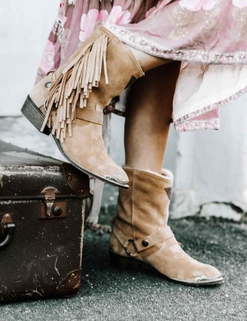 Boots gypsy beige en cuir - Boutique l'ananas
