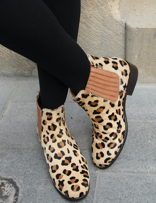 Boots léopard en cuir - Boutique l'ananas
