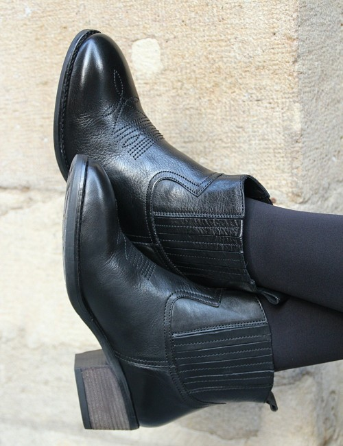 Boots black en cuir - Boutique l'ananas