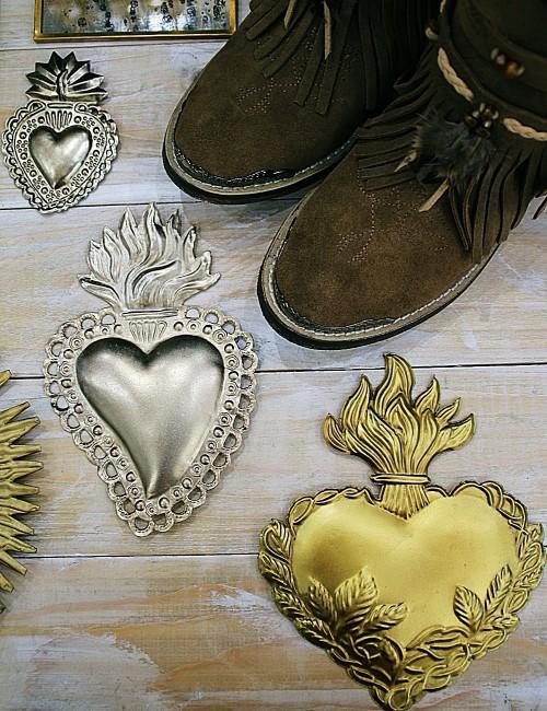Coeur argenté exvoto déco - Boutique l'ananas
