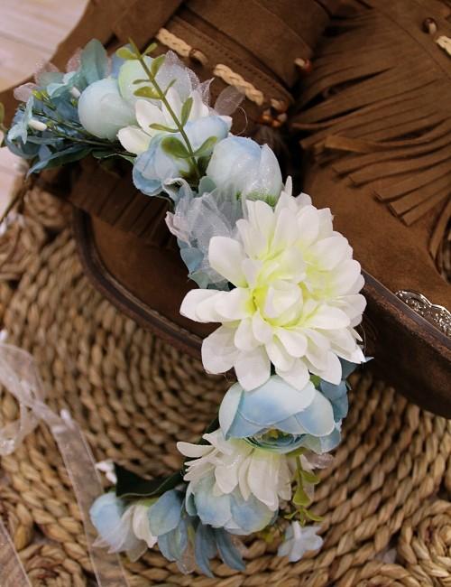 Couronne de fleurs turquoise - Boutique l'ananas