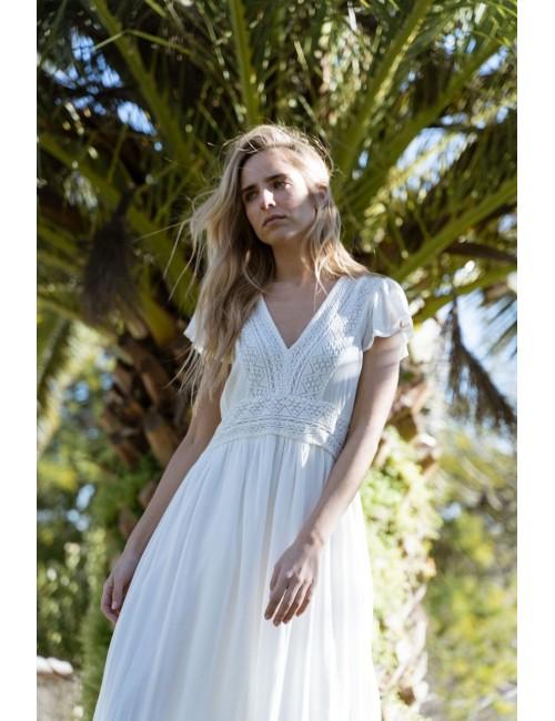 Robe longue bohème blanche - Boutique L'aNanas