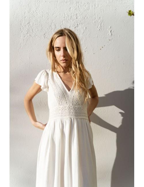 Robe longue broderie bohème blanche - Boutique L'aNanas