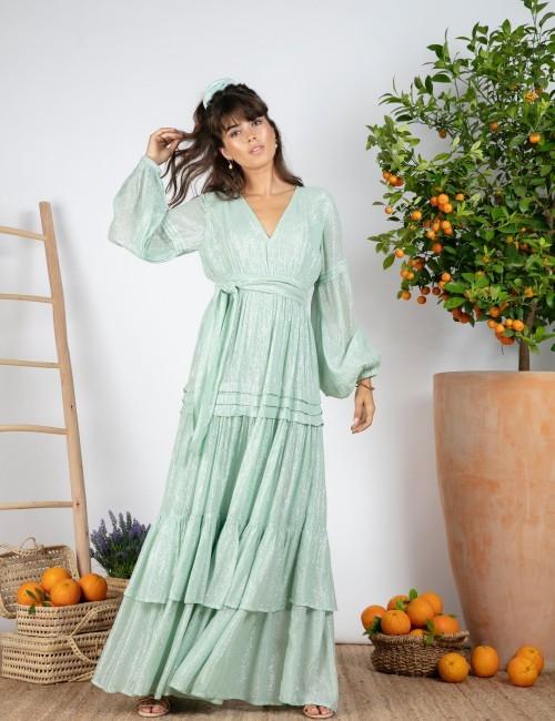 Robe longue d'été à volants - Boutique l'ananas