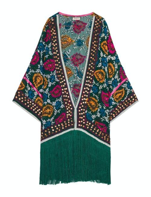 Kimono vert brodé bohème - Boutique l'ananas
