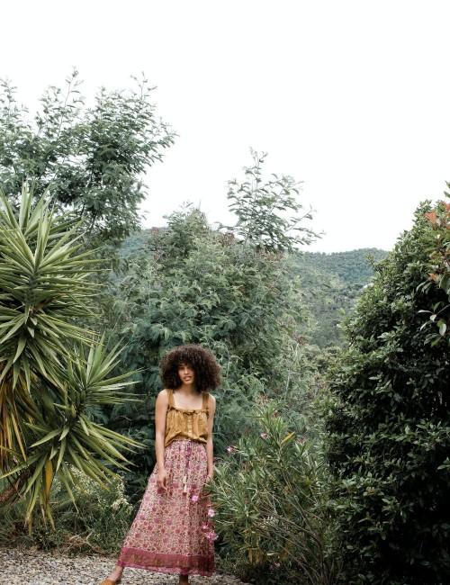 Jupe longue à fleurs hippie - Boutique l'ananas