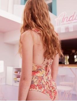 Maillot de bain 1 pièce à volants rose - Boutique l'ananas