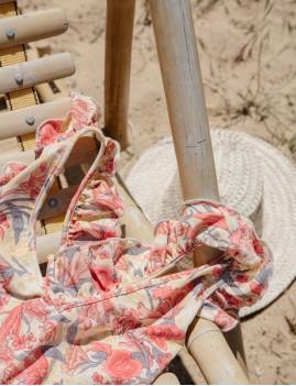 Maillot de bain 1 pièce à volants rose boho - Boutique l'ananas