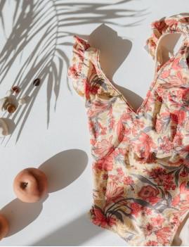 Maillot de bain 1 pièce à volants rose bohemian style - Boutique l'ananas