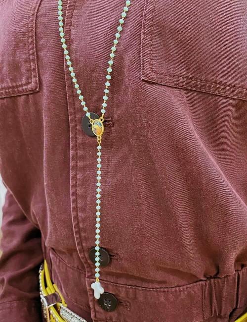 Sautoir chapelet en perles hippie chic - Boutique l'ananas