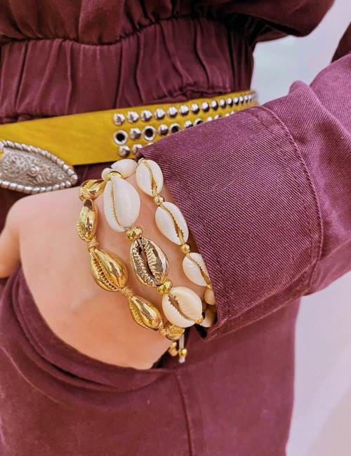 Bracelet coquillages dorés beige - Boutique l'ananas