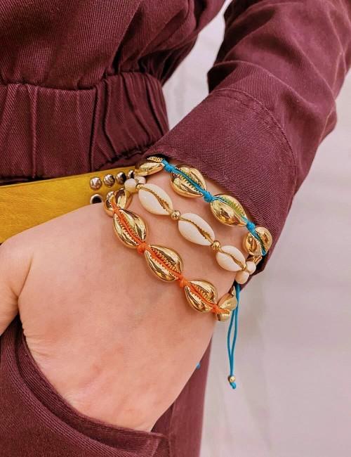 Bracelet coquillages dorés orange - Boutique l'ananas