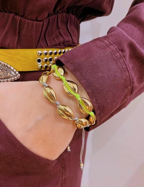 Bracelet coquillages dorés bohème - Boutique l'ananas