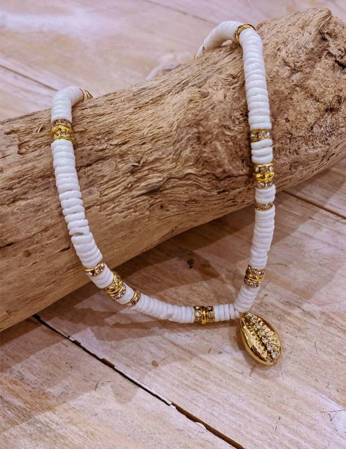 Collier coquillages blancs - Boutique l'ananas