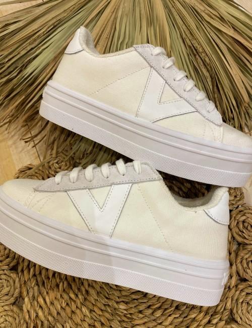 Baskets en toile blanche - Boutique l'ananas