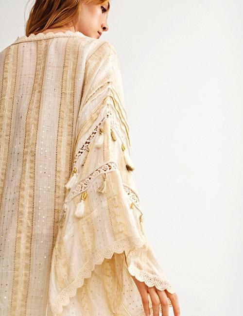 Kimono bohème coquillages - Boutique l'ananas