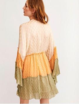 Robe manches papillon tricolore hippie - Boutique l'ananas