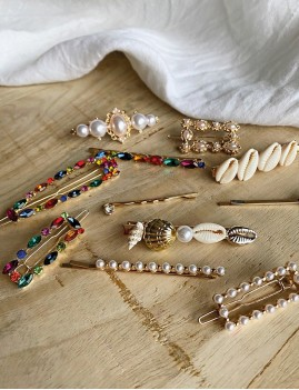 Barrettes coquillages gypsy chic - Boutique l'ananas