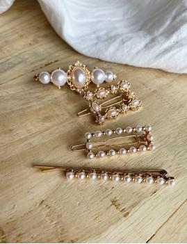 Lot de 4 barrettes à perles nacrées - Boutique l'ananas