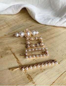Lot de 4 barrettes à perles nacrées bohème - Boutique l'ananas