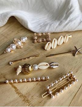 Lot de 4 barrettes à perles nacrées gypsy - Boutique l'ananas