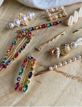 Lot de 4 barrettes à perles nacrées romantiques - Boutique l'ananas