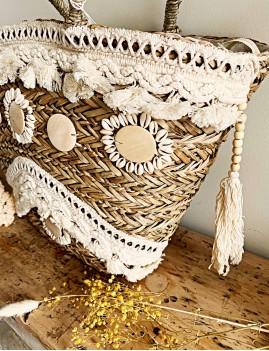 Grand panier en osier pompons bohème - Boutique l'ananas