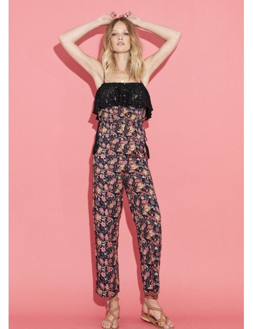 Combinaison-pantalon bustier imprimée fleurs - Boutique l'ananas